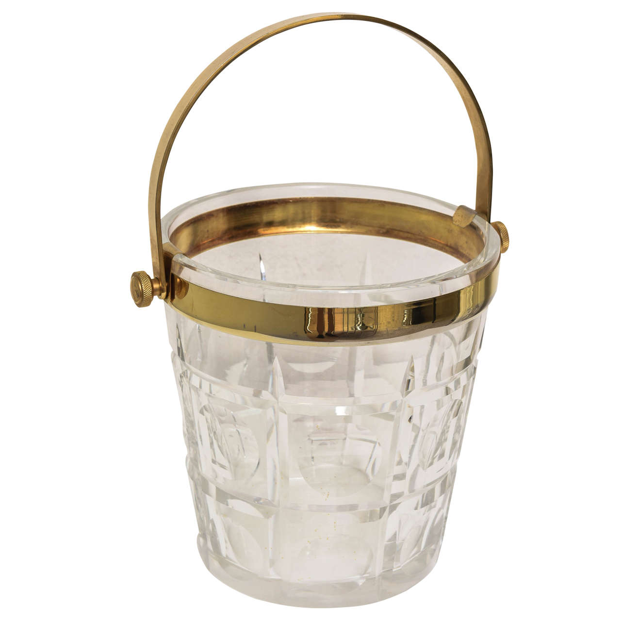 Hollywood-Regency Ice-Bucket in Crystal with Brass Accents:  American, 1940s
