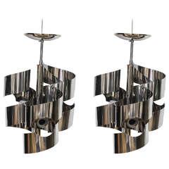 Pair of Spiral-Ribbon Chrome Chandeliers, Gaetano Sciolari for Lightolier, 1970s