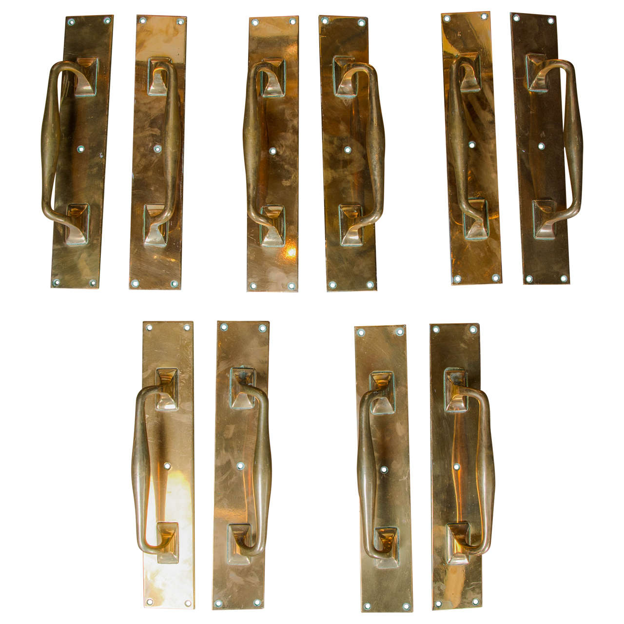 - Five Pairs Of Antique Brass Door Pull Handles At 1stdibs