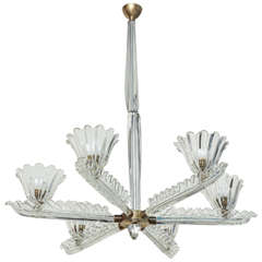 Flavio Poli Large six-arm chandelier made in Italy by Seguso