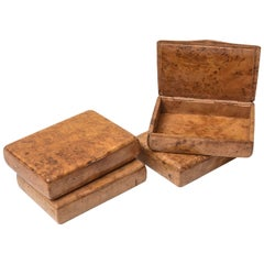 Amboyna Wood Cigarette Cases Set Made in Russia