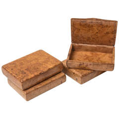 Amboyna Wood Cigarette Cases Set