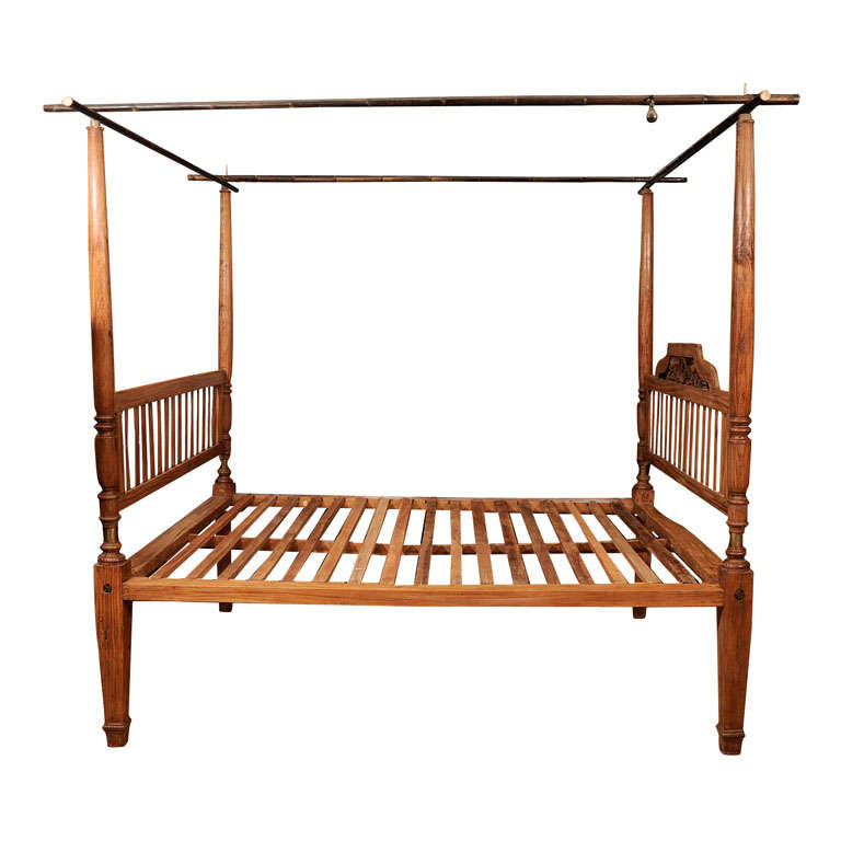 Teak four poster bed w bamboo crossbars at 1stdibs for Wrought iron four poster bed frames