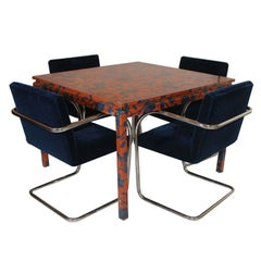 Game Table Wrapped in Fabric with Chairs