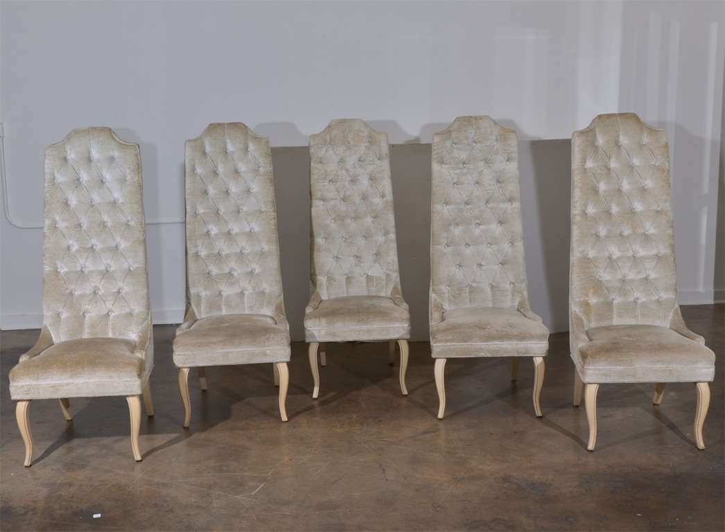 set of five tall back tufted dining chairs at 1stdibs. Black Bedroom Furniture Sets. Home Design Ideas