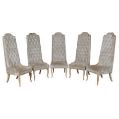 Set of Five Tall Back Tufted Dining Chairs