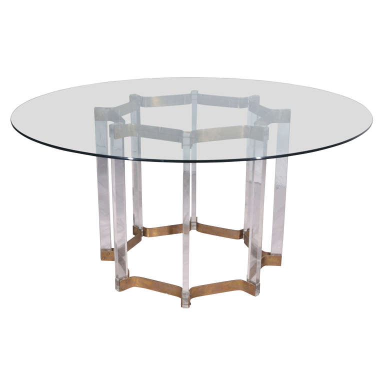 Lucite Dining Room Table: Lucite And Brass Dining Table With Glass Top At 1stdibs