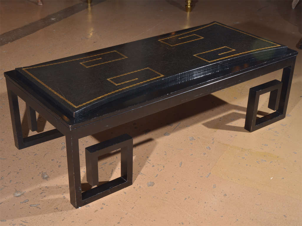 leather top coffee table with greek key motif at 1stdibs