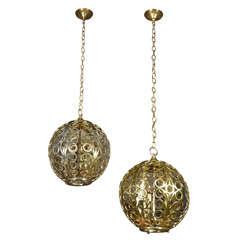 Pair Large Circle Motif Brass Pendant Lights