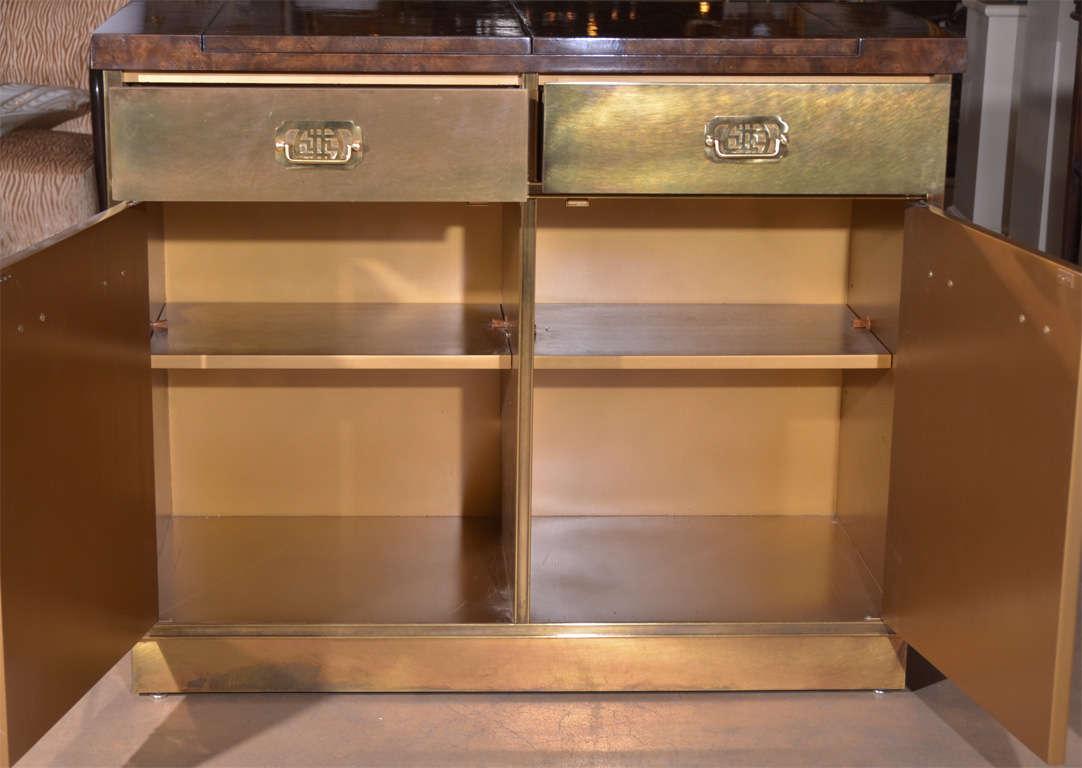 Mastercraft Brass Burl Wood Flip Top Bar Cabinet At 1stdibs