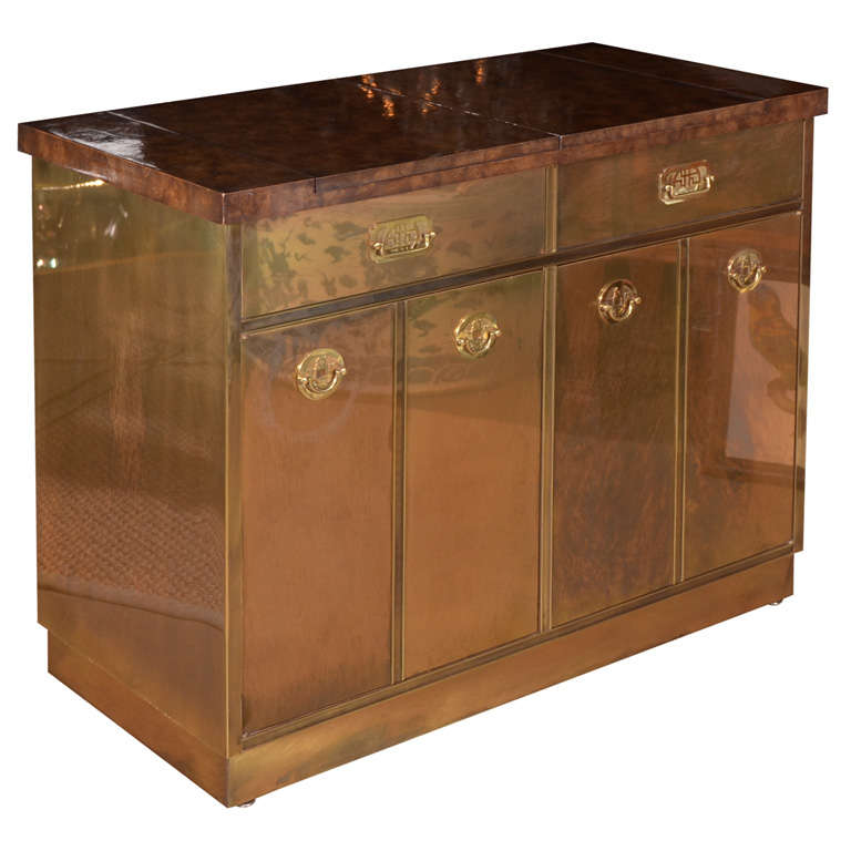 Mastercraft Brass Burl Wood Flip-Top Bar Cabinet at 1stdibs