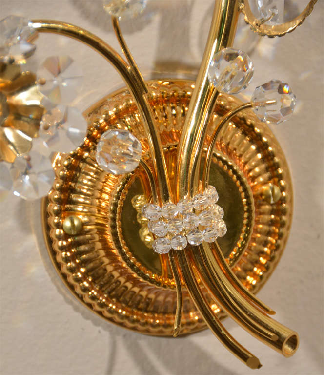 Pair Lobmeyr Style Floral Crystal Gold Plated Wall Sconces at 1stdibs