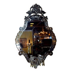 Large Venetian Mirror Etched Glass with Two Arm Candelabras And Prisms