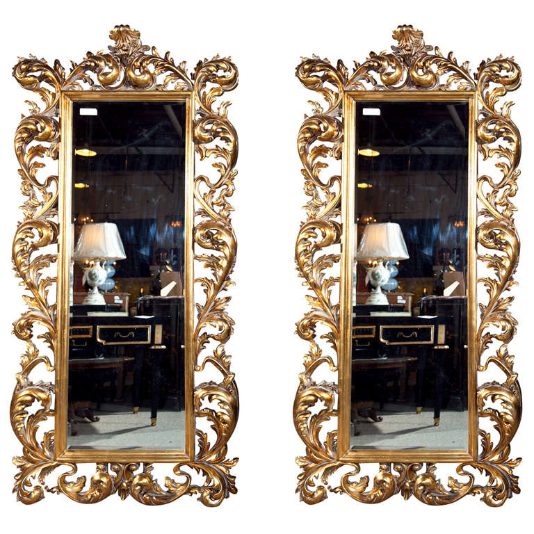Pair of french baroque style giltwood floor mirrors at 1stdibs for Floor mirror italian baroque rococo style