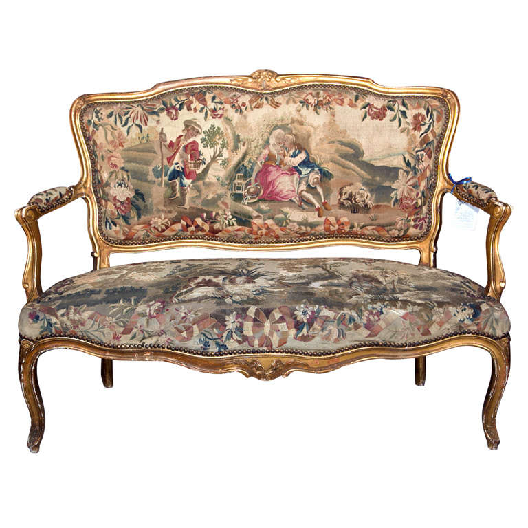 French louis xv style aubusson canape settee at 1stdibs for Canape style louis xv