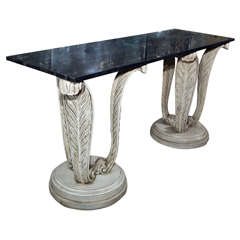 Marble Top Plume Base Console by Maison Jansen