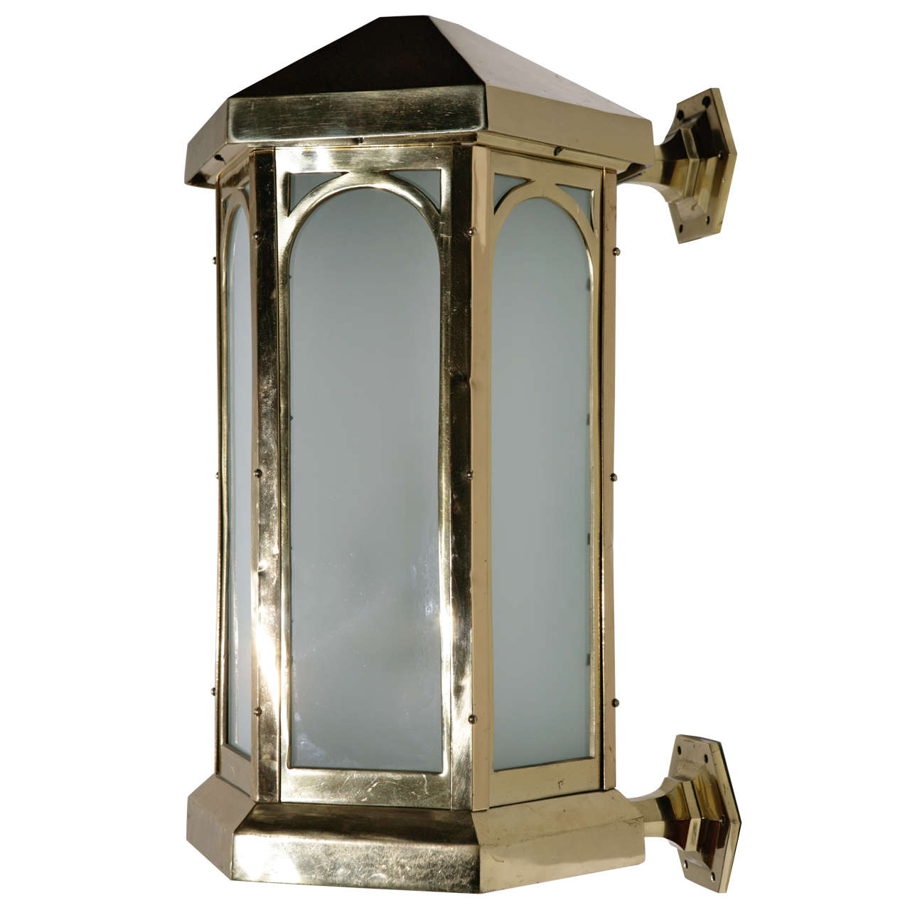 Brass Exterior Wall Sconces : Cast Brass Exterior Sconce For Sale at 1stdibs