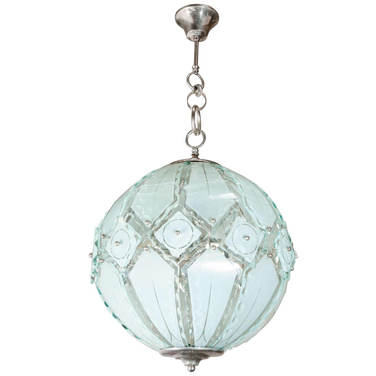 Italian Globe Chandelier Fontana Arte