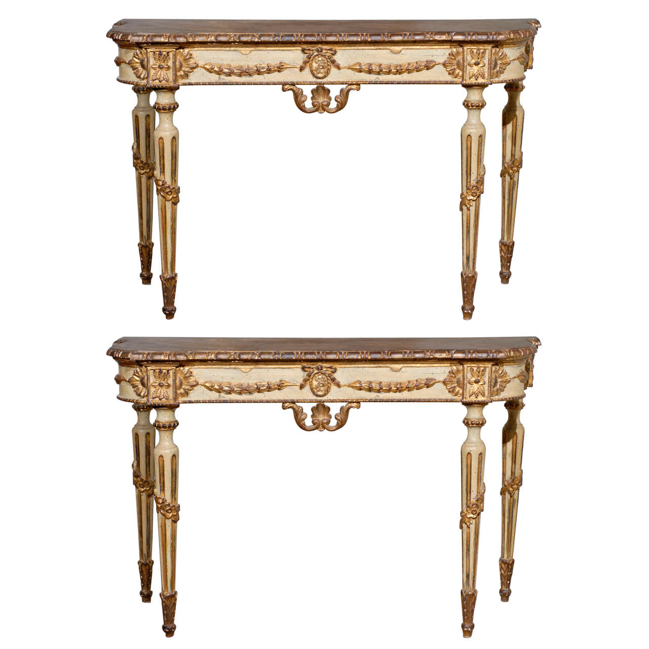 Pair of Painted Neoclassical Style Console Tables