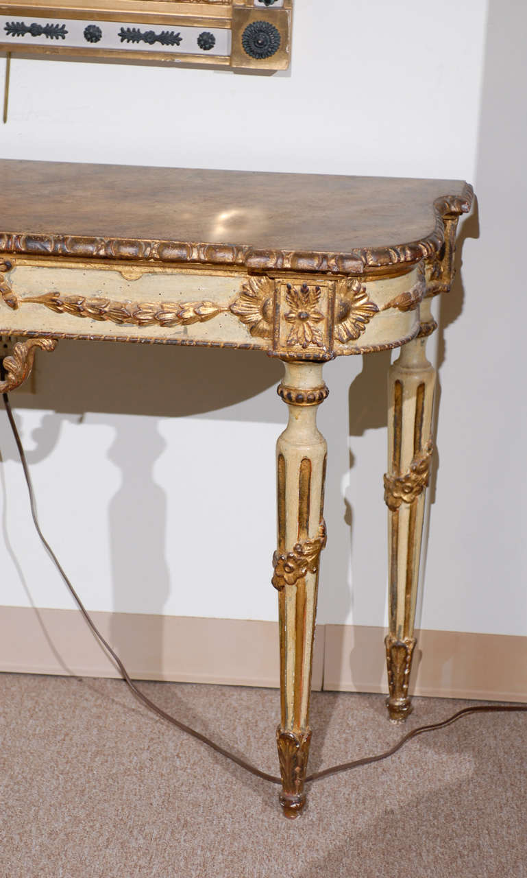 Pair of painted neoclassical style console tables at 1stdibs for Painted foyer tables