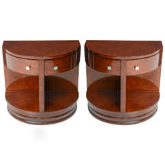 Pair of American Art Deco Style Demilune Side Tables by Widdicomb Furniture