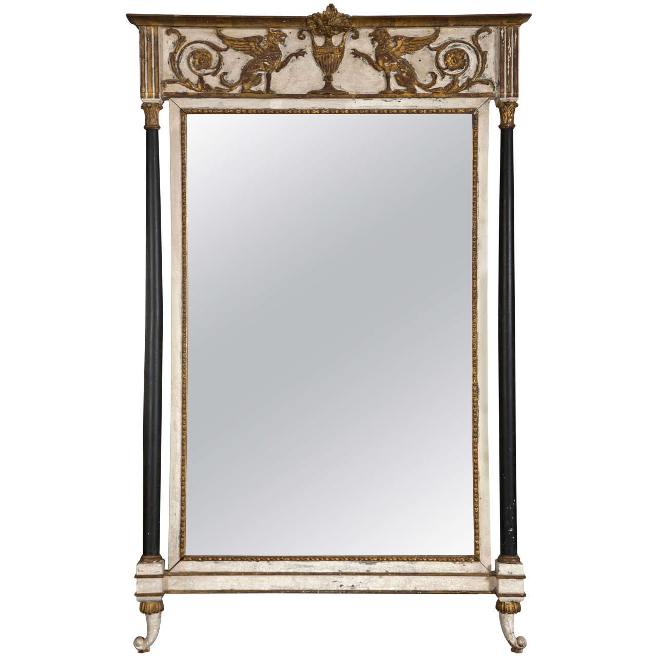 Mirror gold and white italy at 1stdibs for White and gold mirror