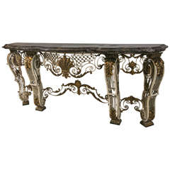 French Marble-Top Iron Base Console
