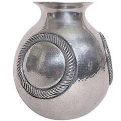 Rene Delavan French Art Deco Dinanderie Aluminum Vase