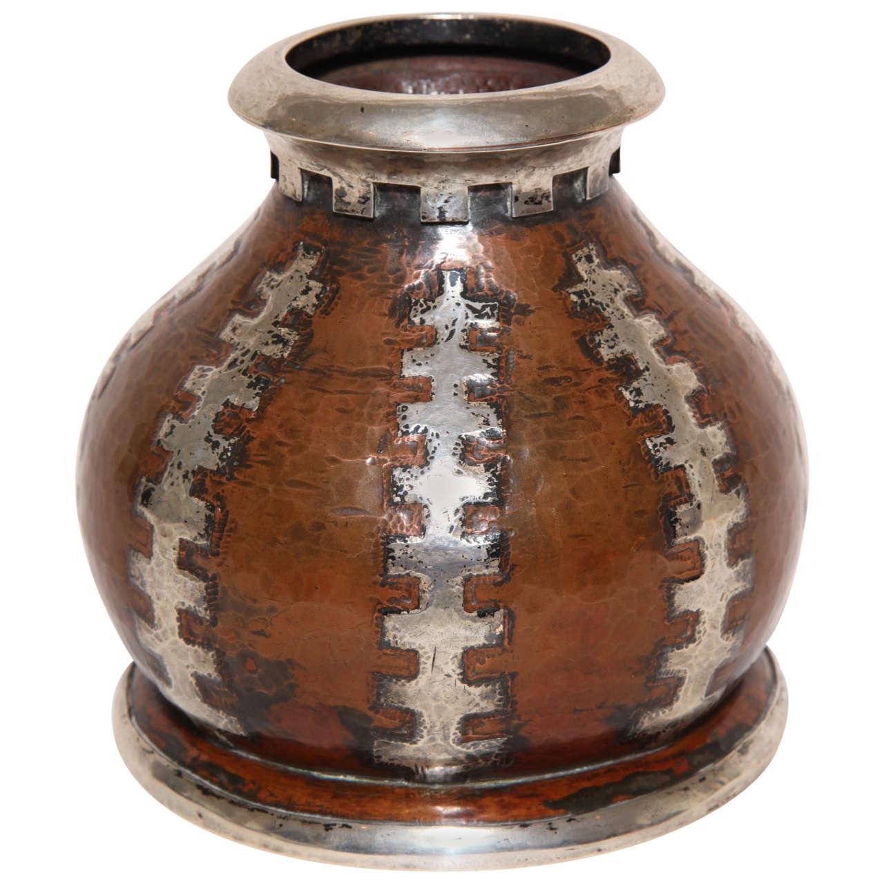 jean serriere art deco copper and silver dinanderie vase at 1stdibs. Black Bedroom Furniture Sets. Home Design Ideas