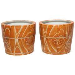 Chinese Ceramic Pair of Orange Jardinieres or Planters