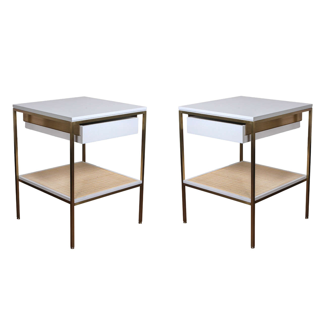 Bedside Tables with Brass Frames, White Lacquered Tops/Drawers and Cane Shelves