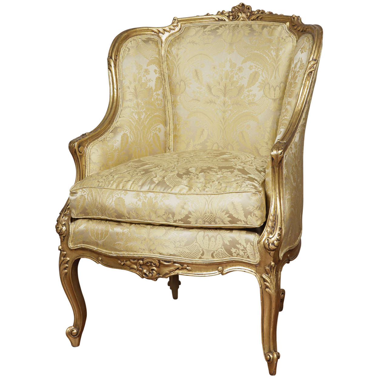 18th c French Louis XV gilt carved bergere