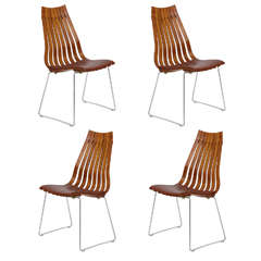 Four Rosewood Hans Brattrud Chairs, 1970