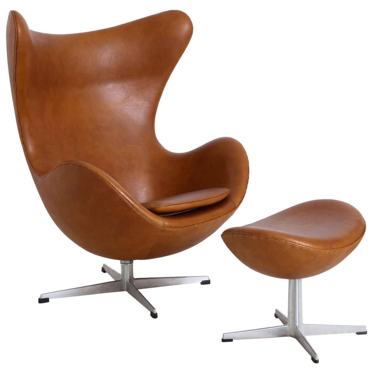 Arne jacobsen egg chair with ottoman at 1stdibs for Chaise arne jacobsen