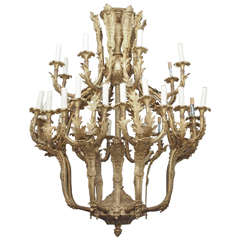 Large 24-Light Bronze Dutch Rococo Style Chandelier