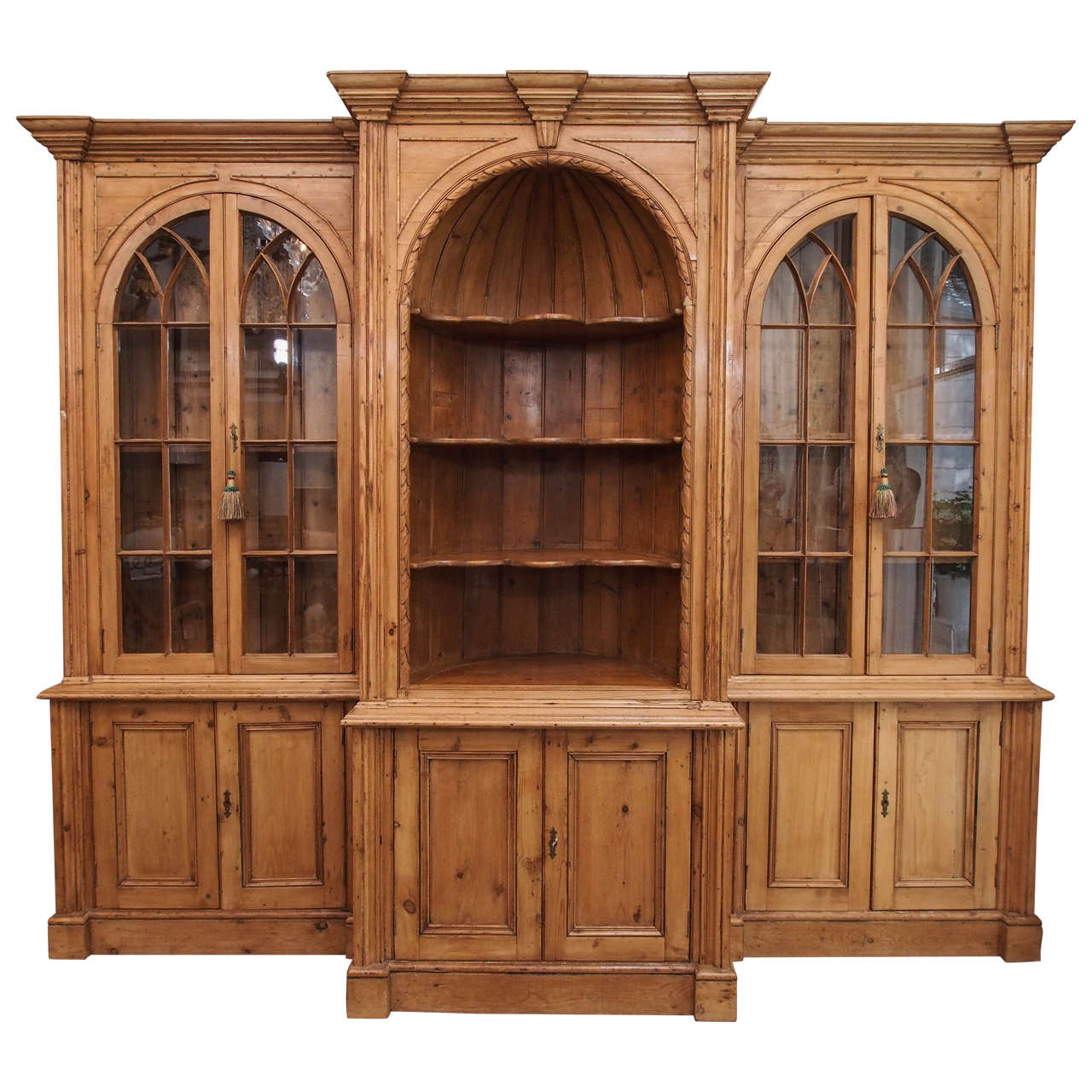 Antique English Pine Breakfront Bookcase For Sale - Antique English Pine Breakfront Bookcase At 1stdibs