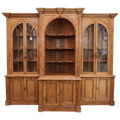 Antique English Pine Breakfront Bookcase