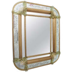 Vintage Etched Murano Glass Mirror