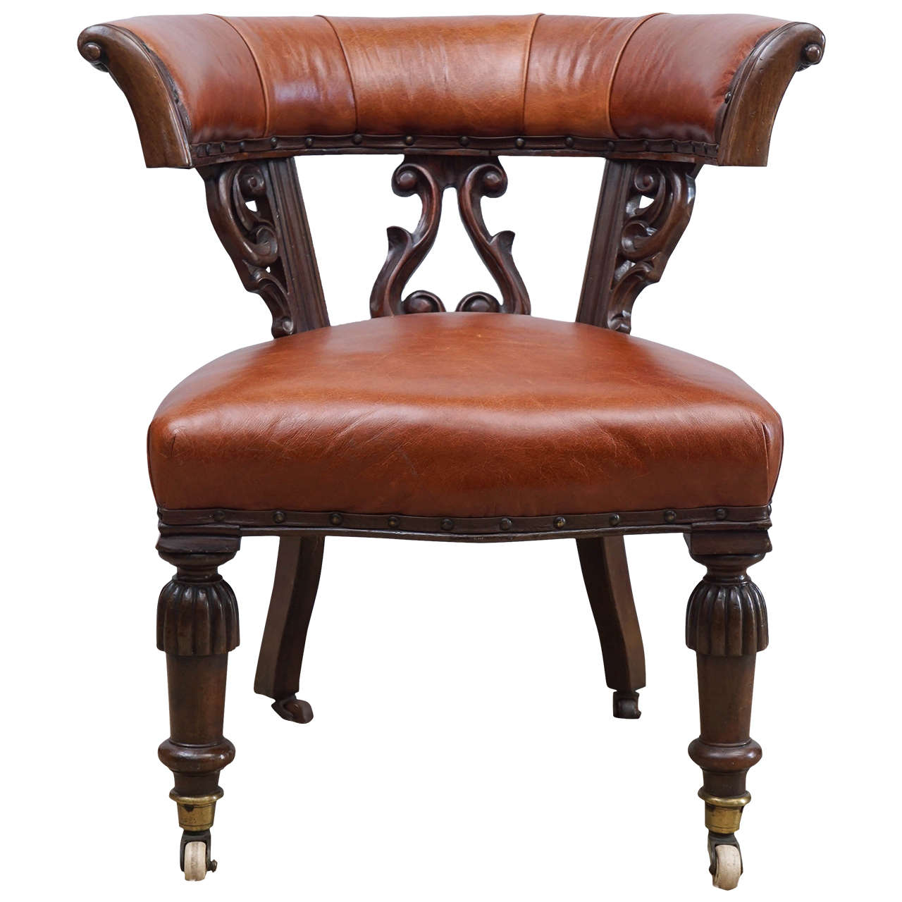 Mid 19th Century English Leather Chair On Casters At 1stdibs. Full resolution‎  photo, nominally Width 1280 Height 1280 pixels, photo with #6D3524.
