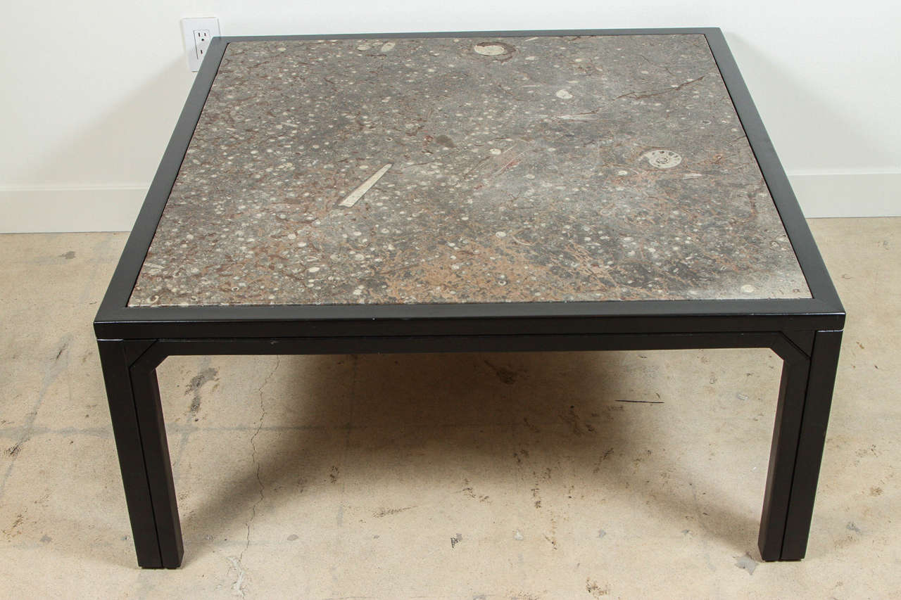 fossil stone and ebonized wood coffee table by ronald With wood and stone coffee table