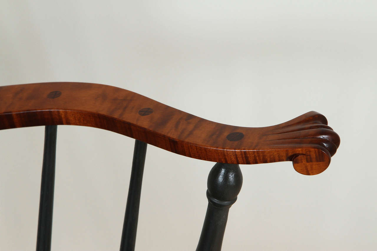Turned Nantucket Armchair with Tiger Maple Arms by O&G Studio