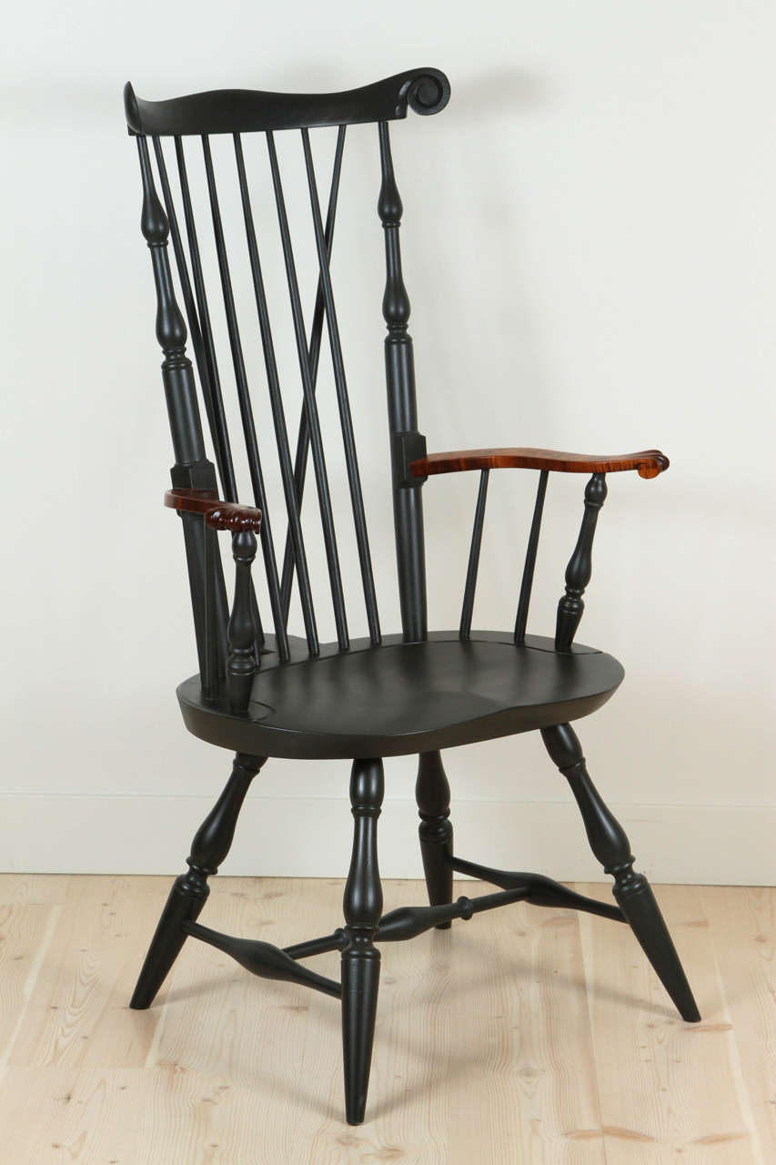 Nantucket Armchair with Tiger Maple Arms by O&G Studio In Excellent Condition In Los Angeles, CA