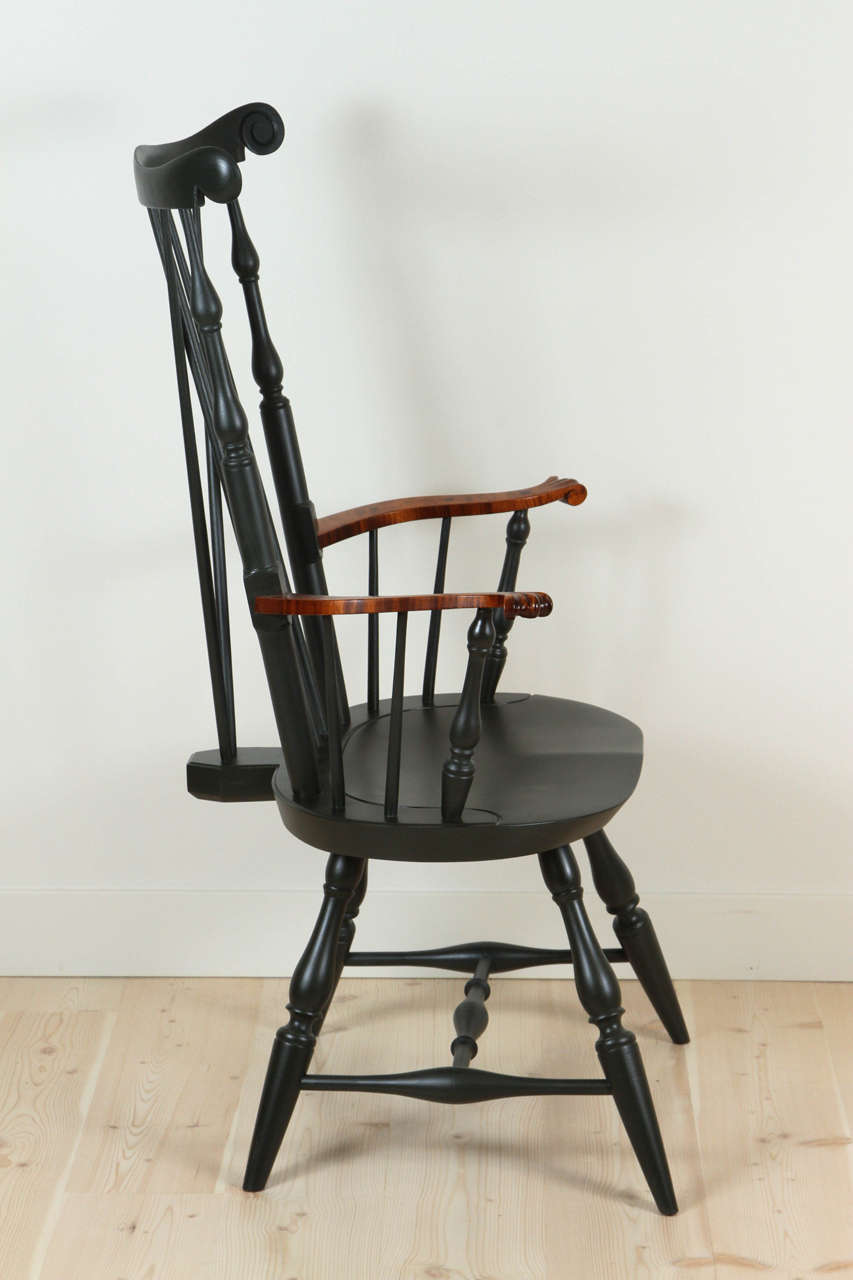Contemporary Nantucket Armchair with Tiger Maple Arms by O&G Studio