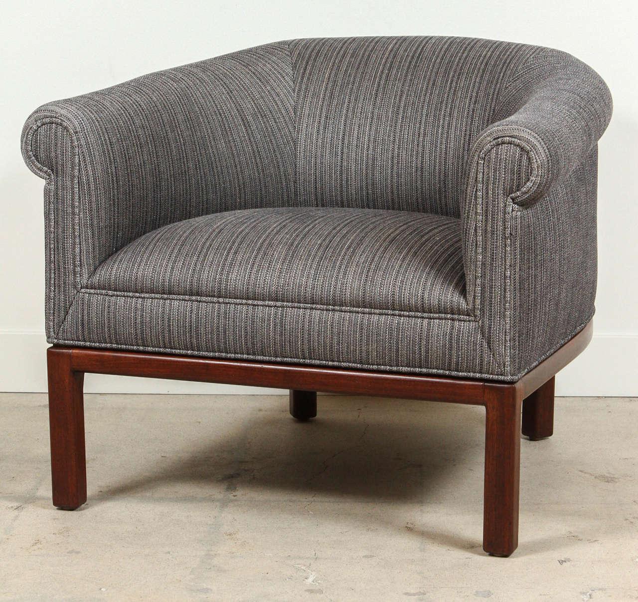 Pair Of Barrel Back Chairs By Jules Heumann For Metropolitan Furniture. New  Cotton/silk