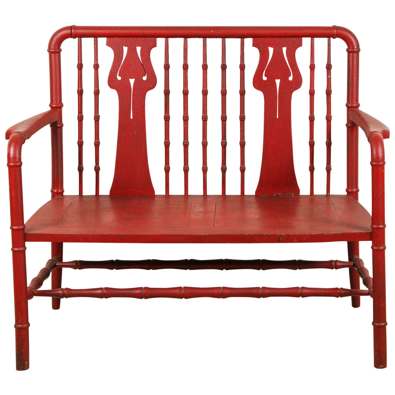 1930s Red Carved Wood Bench At 1stdibs