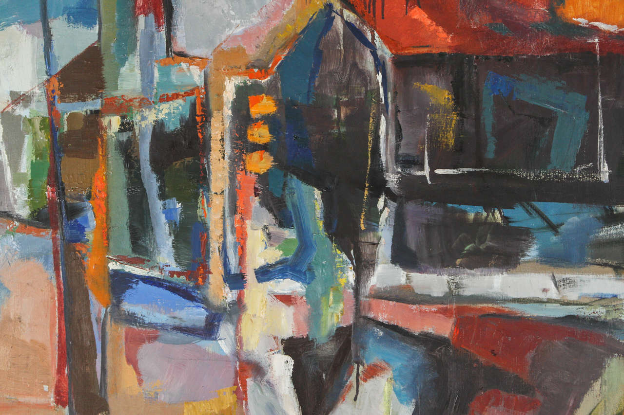 Mid-Century Modern Vintage Abstract Painting by Hannah Cohen