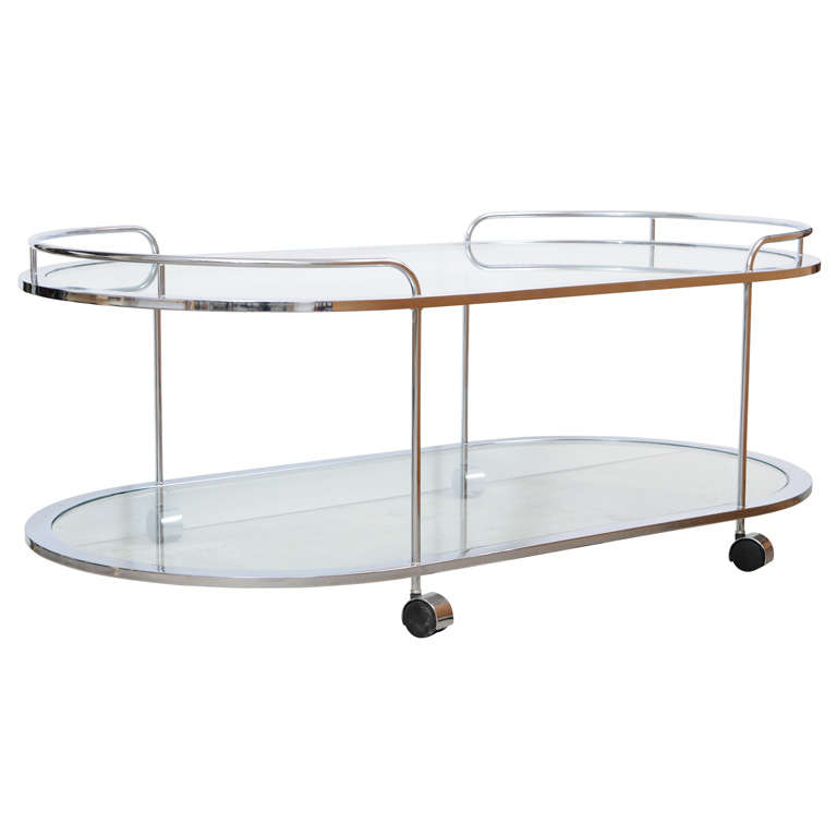 Modern Glass Coffee Table With Wheels: Chic 70's Chrome And Glass Cart /table / Server On Wheels