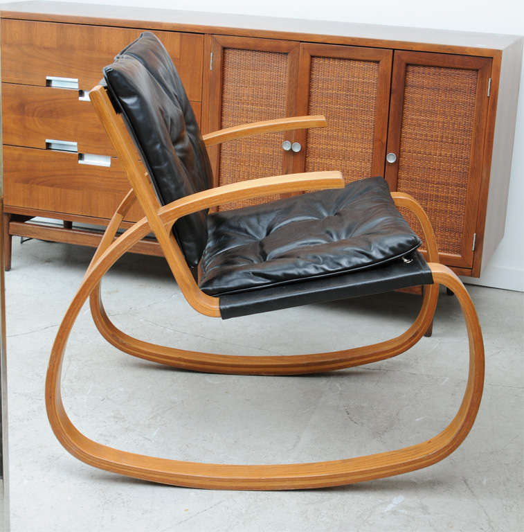 Sculptural 70 s leather and wood rocking chair at 1stdibs for 70s wooden couch