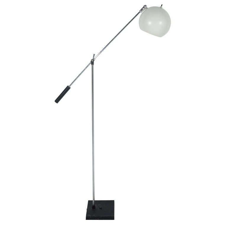 adjustable swing arm floor lamp 1960 39 s at 1stdibs. Black Bedroom Furniture Sets. Home Design Ideas