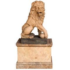 Italian 19th Century Terracotta Lion on Faux Marble Pedestal, 4.5 Ft Tall
